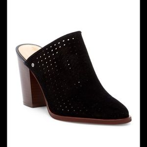 Sam Edelman black suede perforated mules.Size 7.5